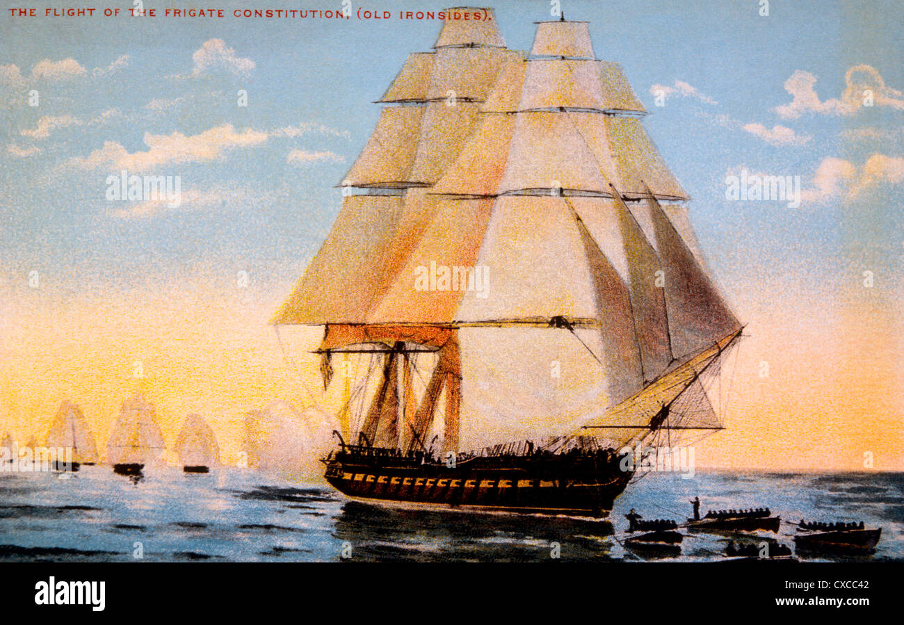 U.S.S. Constitution, Old Ironsides, Undated Lithograph - Stock Image