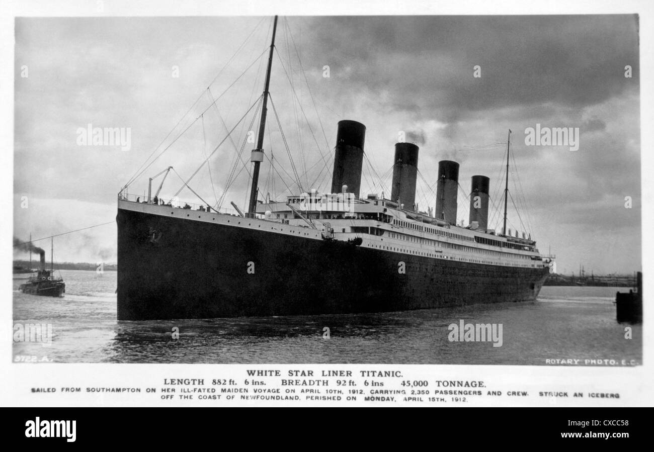 The White Star Liner, Titanic, Circa 1912 - Stock Image