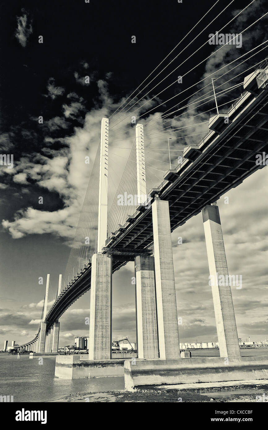 Black and white image of Dartford Bridge across river Thames, connecting Kent with Essex. An M25 route. - Stock Image