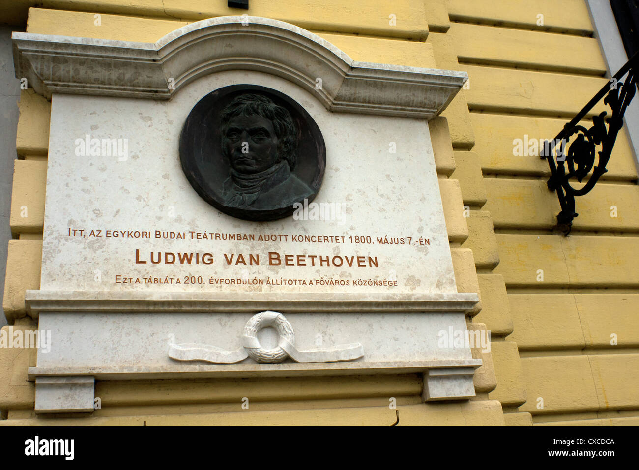Plaque Ludwig Beethoven recording the date Ludwig Van Beethoven performed in Budapest  May 1800 - Stock Image