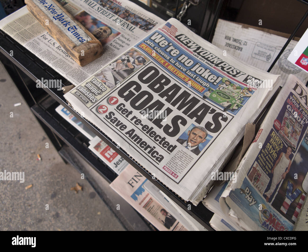 New York Newspaper after Obama speaks at the Democratic Convention 2012. - Stock Image