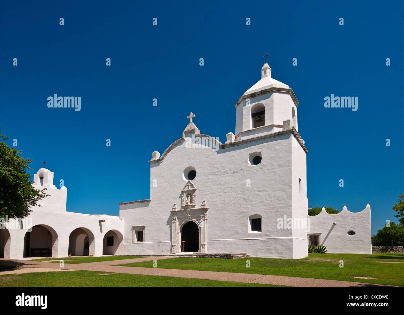 Church at Mission Espiritu Santo, Goliad State Park, near Goliad, Texas, USA - Stock Image