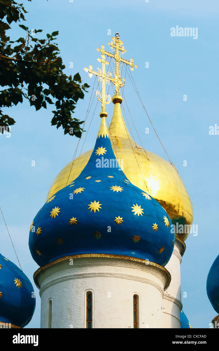 Domes of the Assumption Cathedral of Sergiev-Pechersk Lavra in Sergiev Posad - Stock Image
