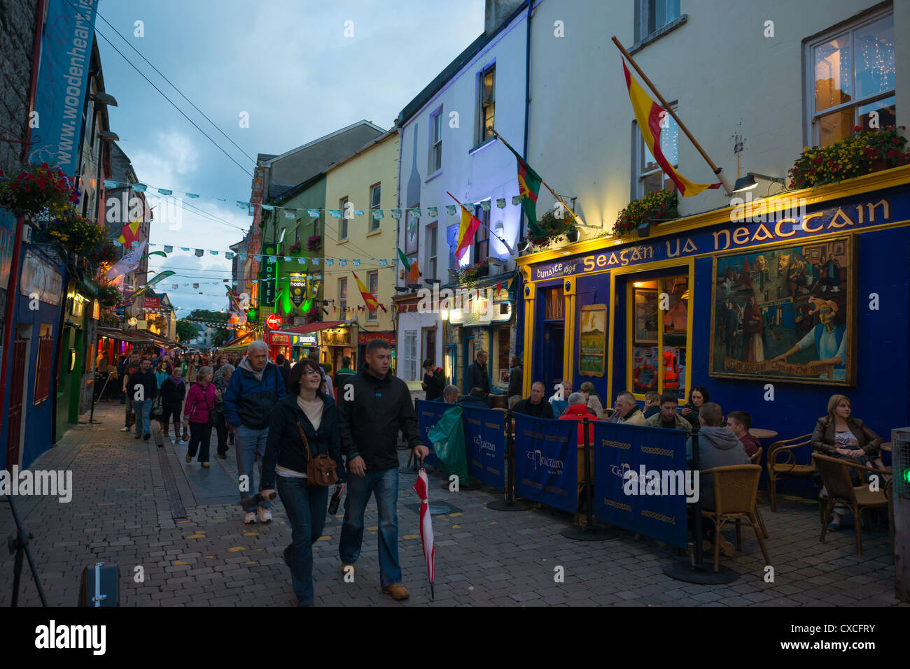 A colourful pub in the Latin quarter of Galway city, Ireland. - Stock Image