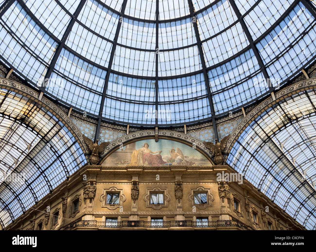 The domed glass ceiling of the Galleria Vittorio Emanuele ll shopping arcade in Milan, Italy Stock Photo