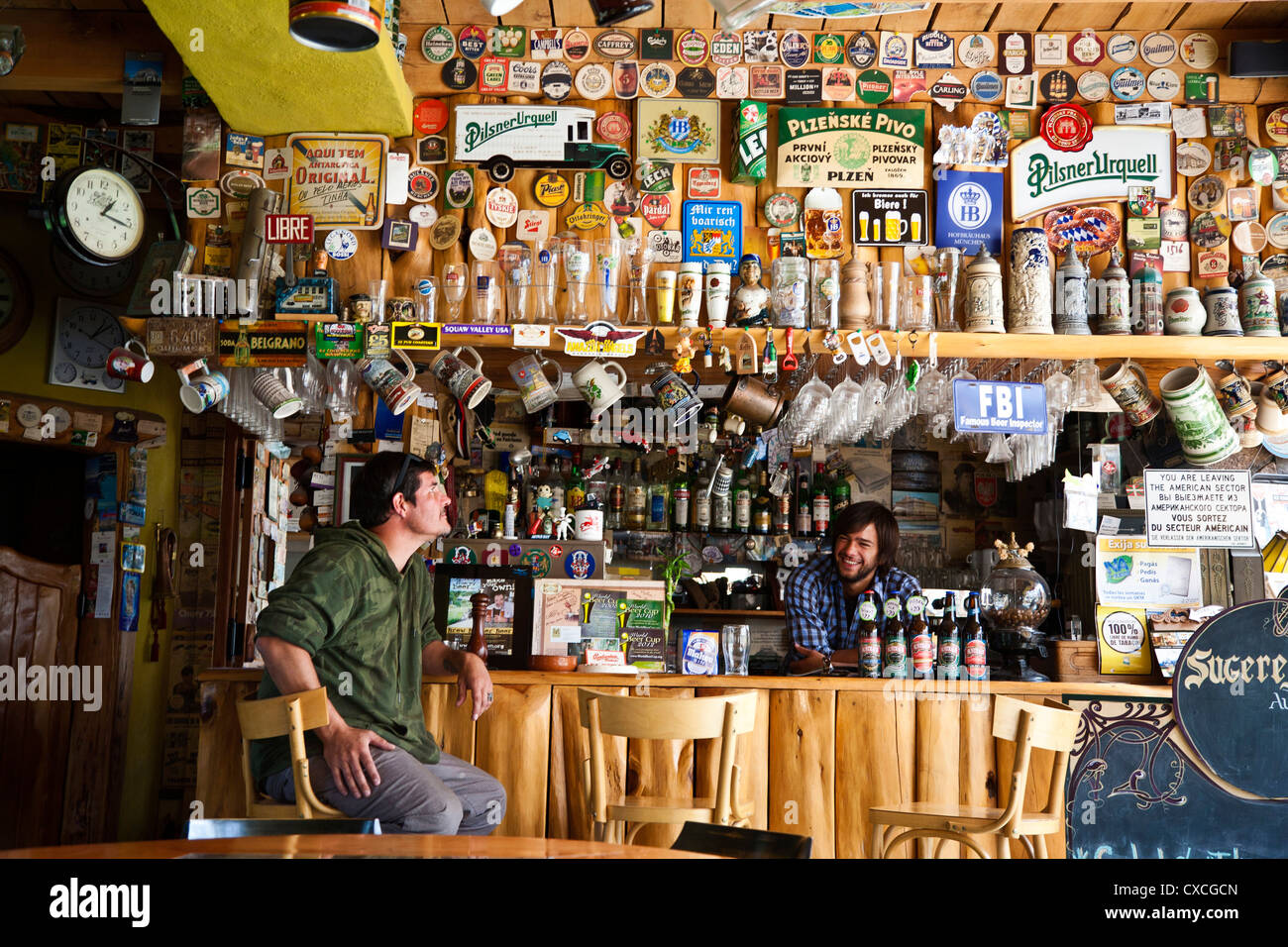 Australis micro brewery in Villa la Angostura has won numeors prizes by the Beer World Cup organization, Patagonia, - Stock Image