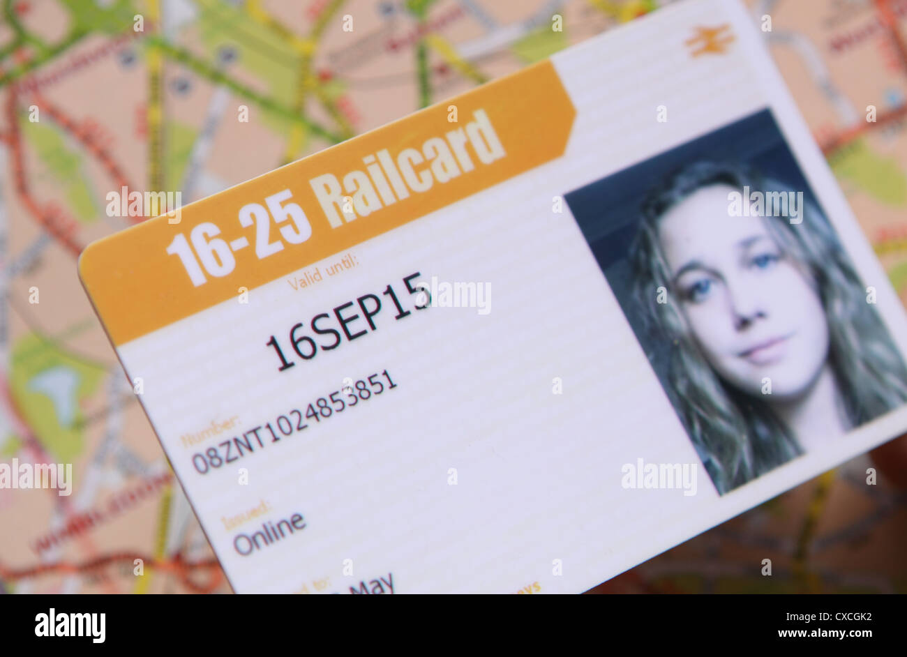 Student Railcard 16 - 25 year old UK national rail train discount scheme - Stock Image