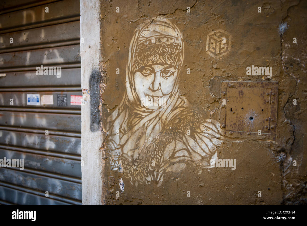 Composite Image Of Stencil Graffiti >> Wall Details With Stencil Graffiti On The Streets Of Rome Roma