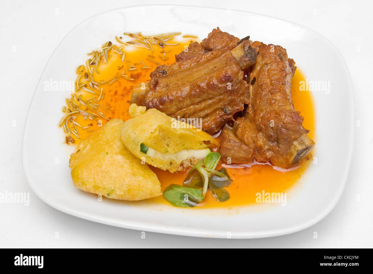 Tapa of pork ribs marinated - Stock Image