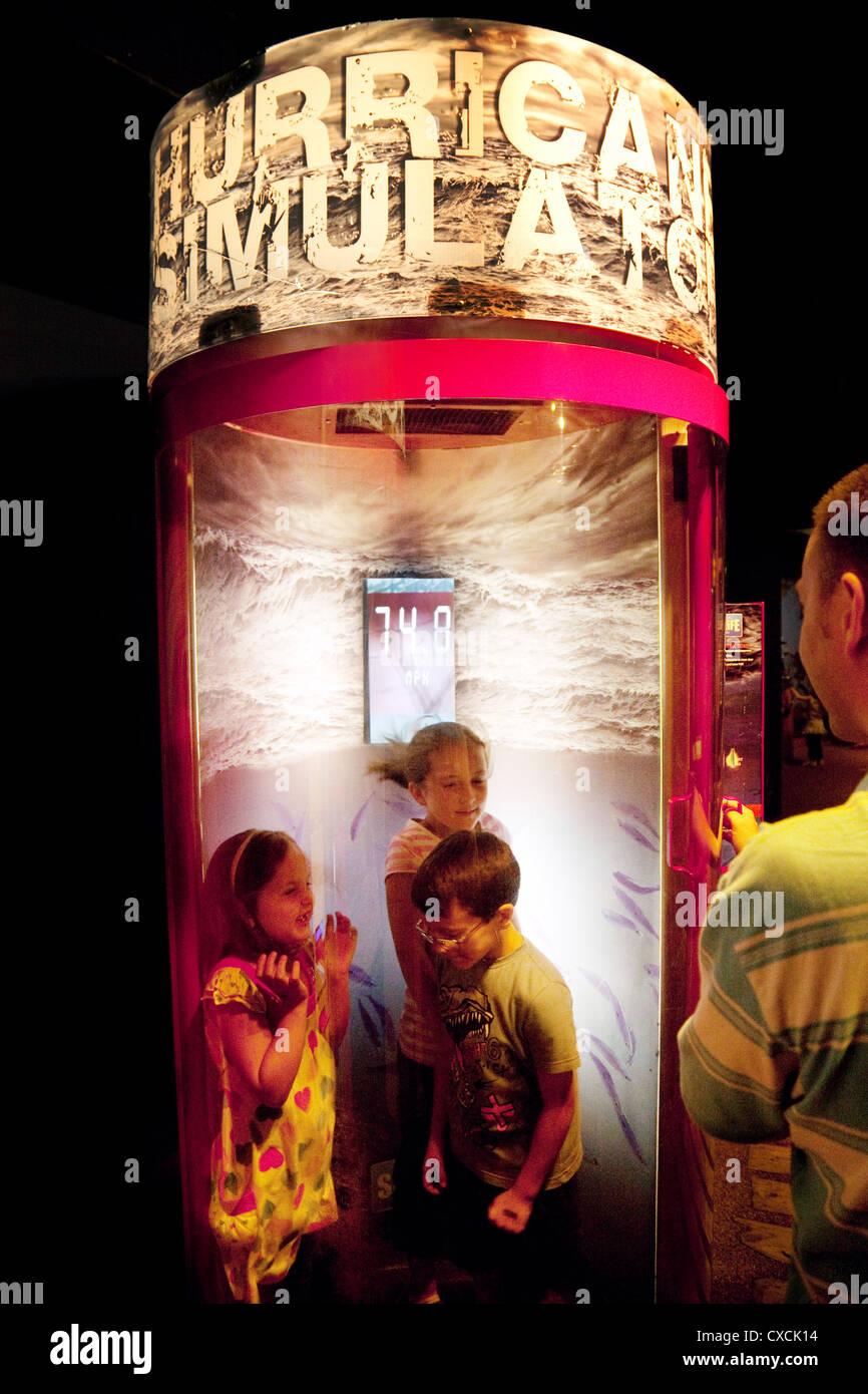 Children in the Hurricane Simulator machine, Sea Life London Aquarium, London UK - Stock Image