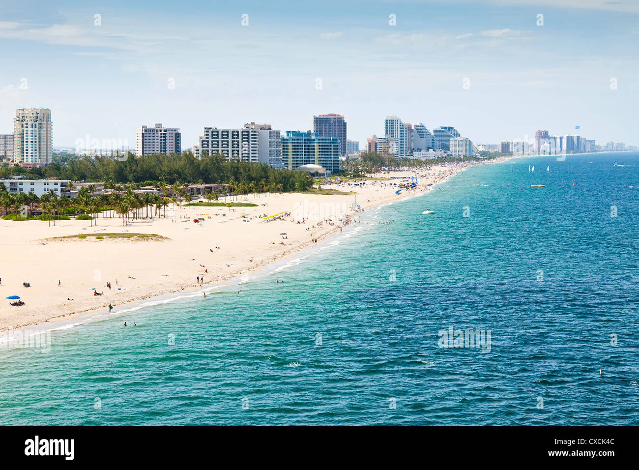Aerial view of Fort Lauderdale Beach in Ft. Lauderdale, Florida - Stock Image