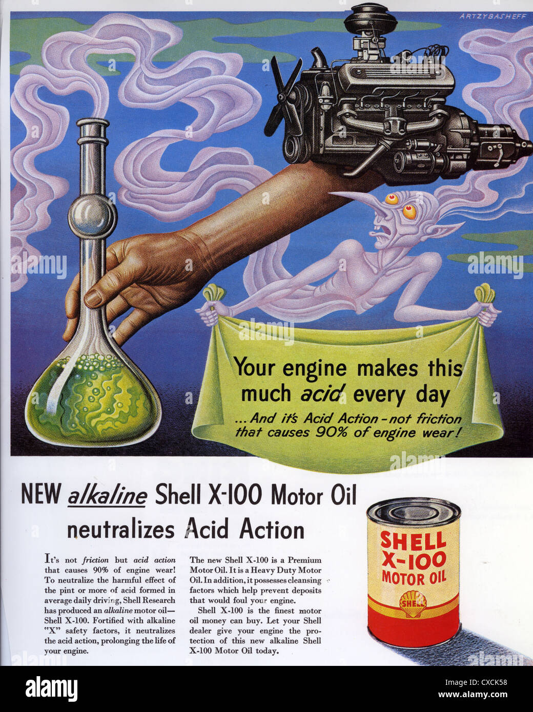SHELL X-100 motor oil advert about 1953 - Stock Image