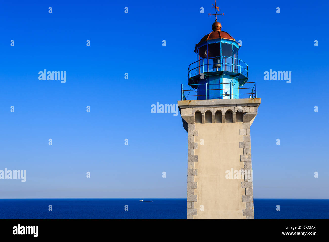 The lighthouse at Cape Tainaro, the southernmost point of continental East Europe, Peloponnese, Greece - Stock Image