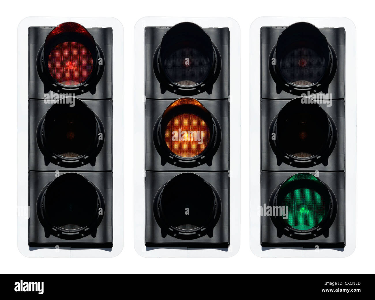Red Amber Green traffic light - Stock Image