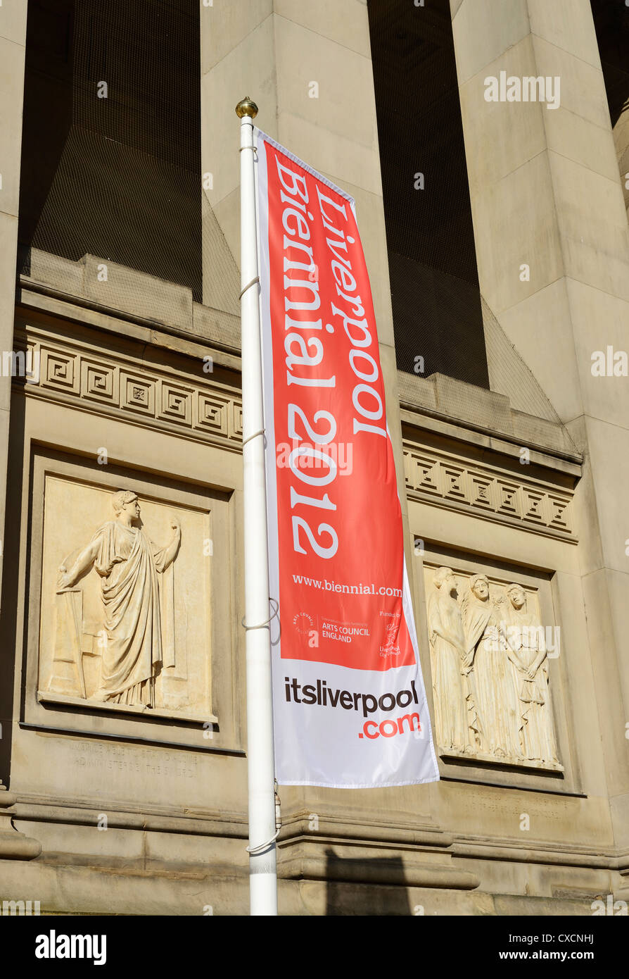 Liverpool Biennial 2012 banner outside St Georges Hall - Stock Image