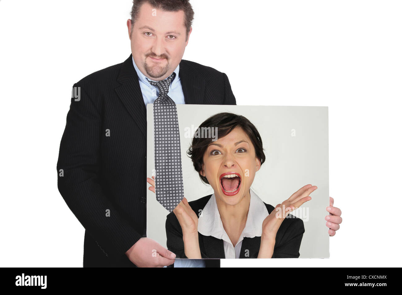 Businessman with a picture of a woman shouting Stock Photo