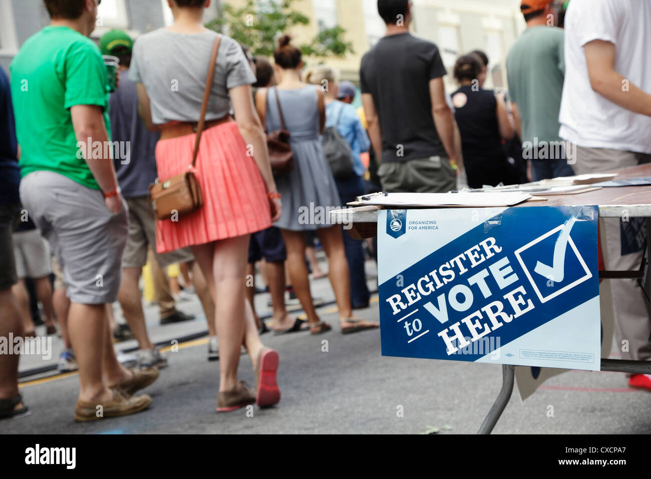Voter registration table at Hopscotch Music Festival, Raleigh, North Carolina, USA - Stock Image
