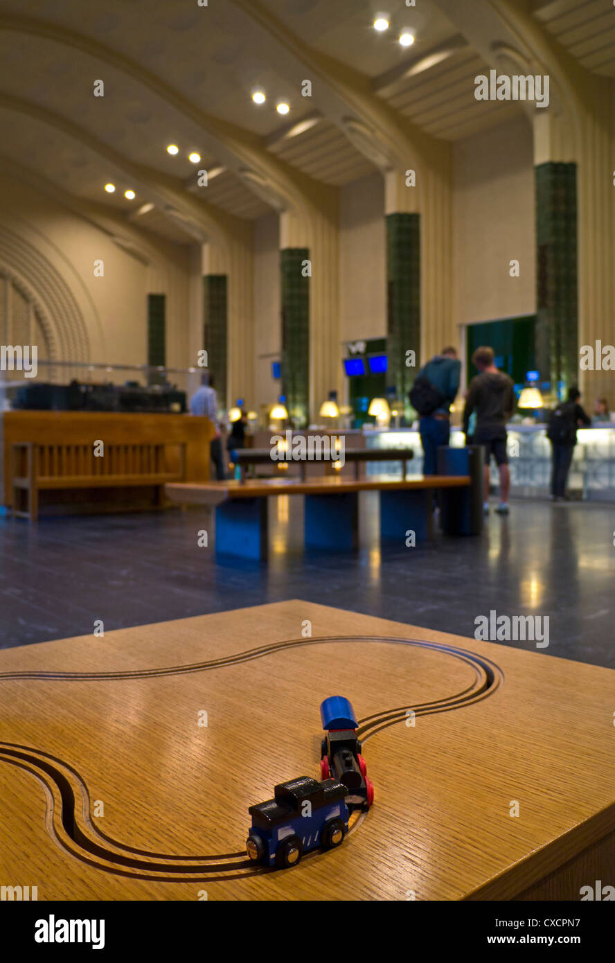 Helsinki railway station ticket and reservations hall with model railway in foreground Helsinki Finland - Stock Image