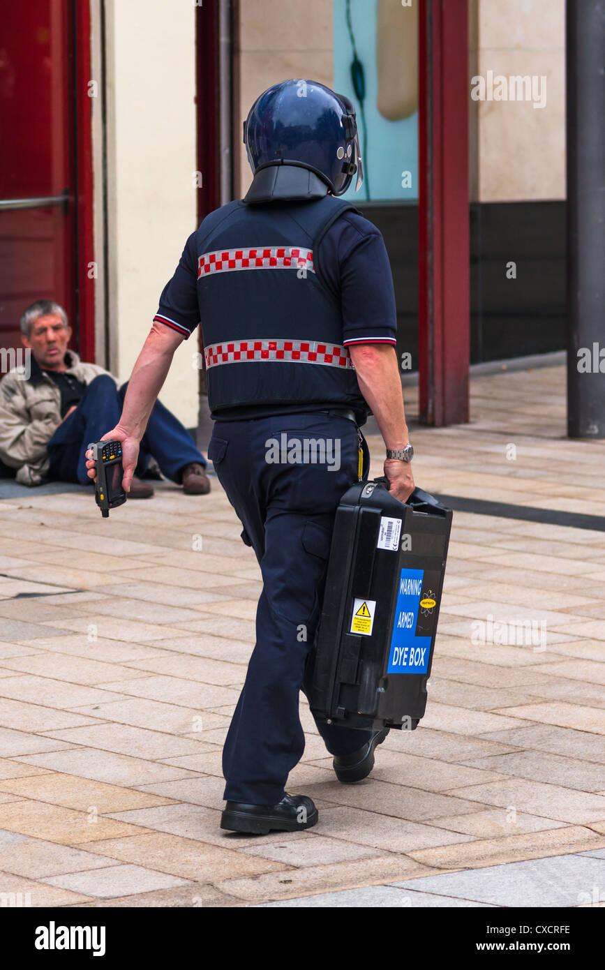 Sensational Security Guard In Blue Uniform And Helmet Carries Secure Cash Box Wiring Cloud Usnesfoxcilixyz