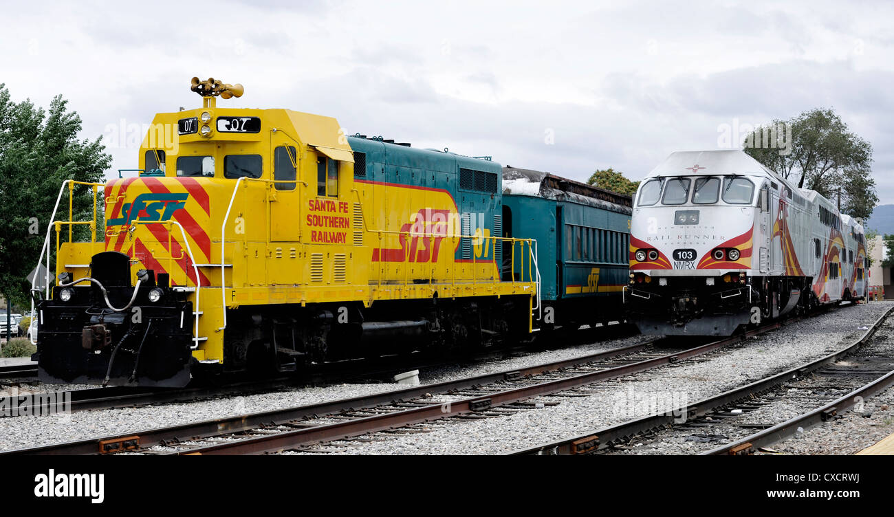 Southern Railway and Rail Runner Trains, Santa Fe, New Mexico - Stock Image