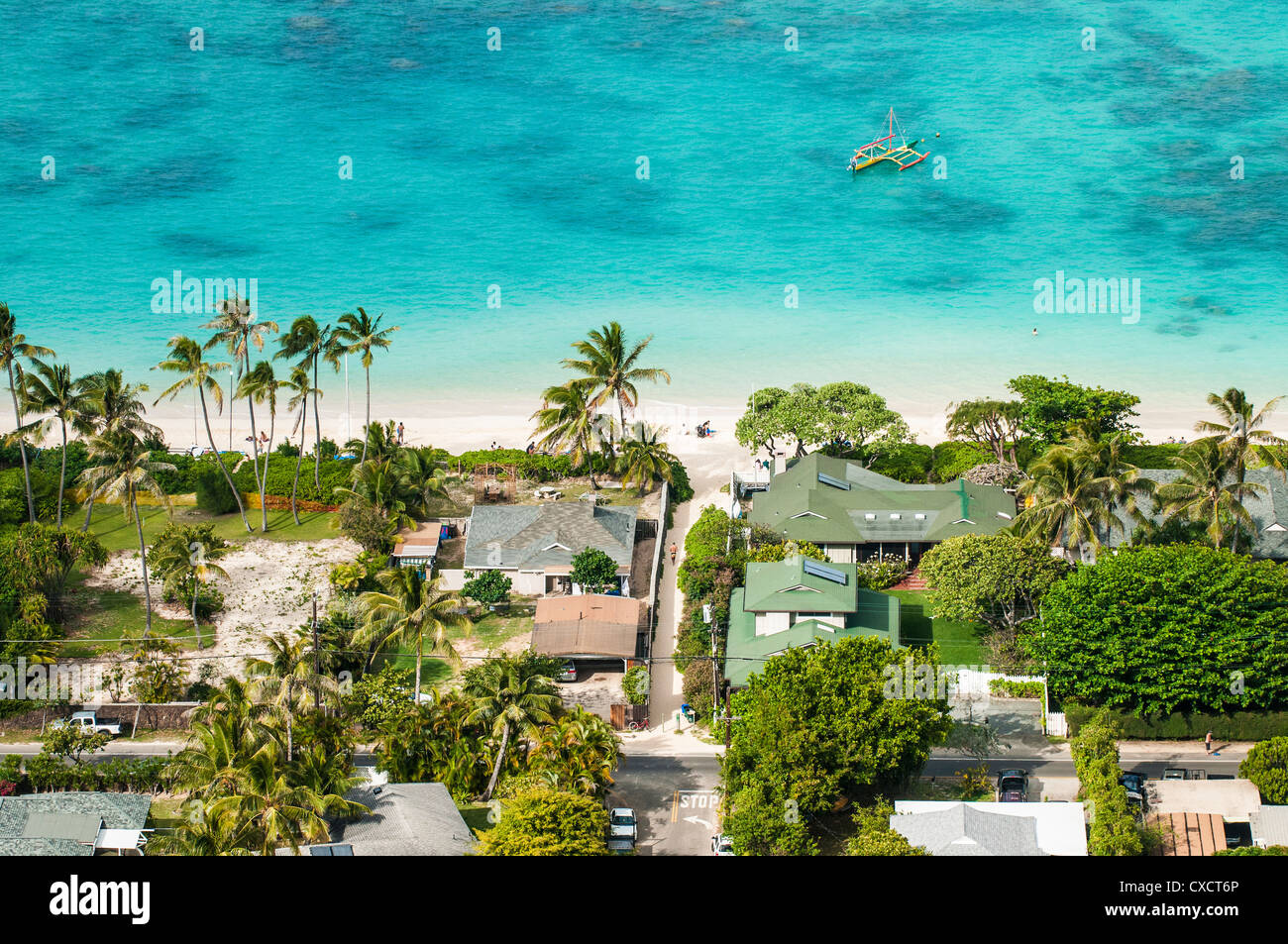 Lanikai Beach And Houses Kailua Oahu Hawaii Stock Photo
