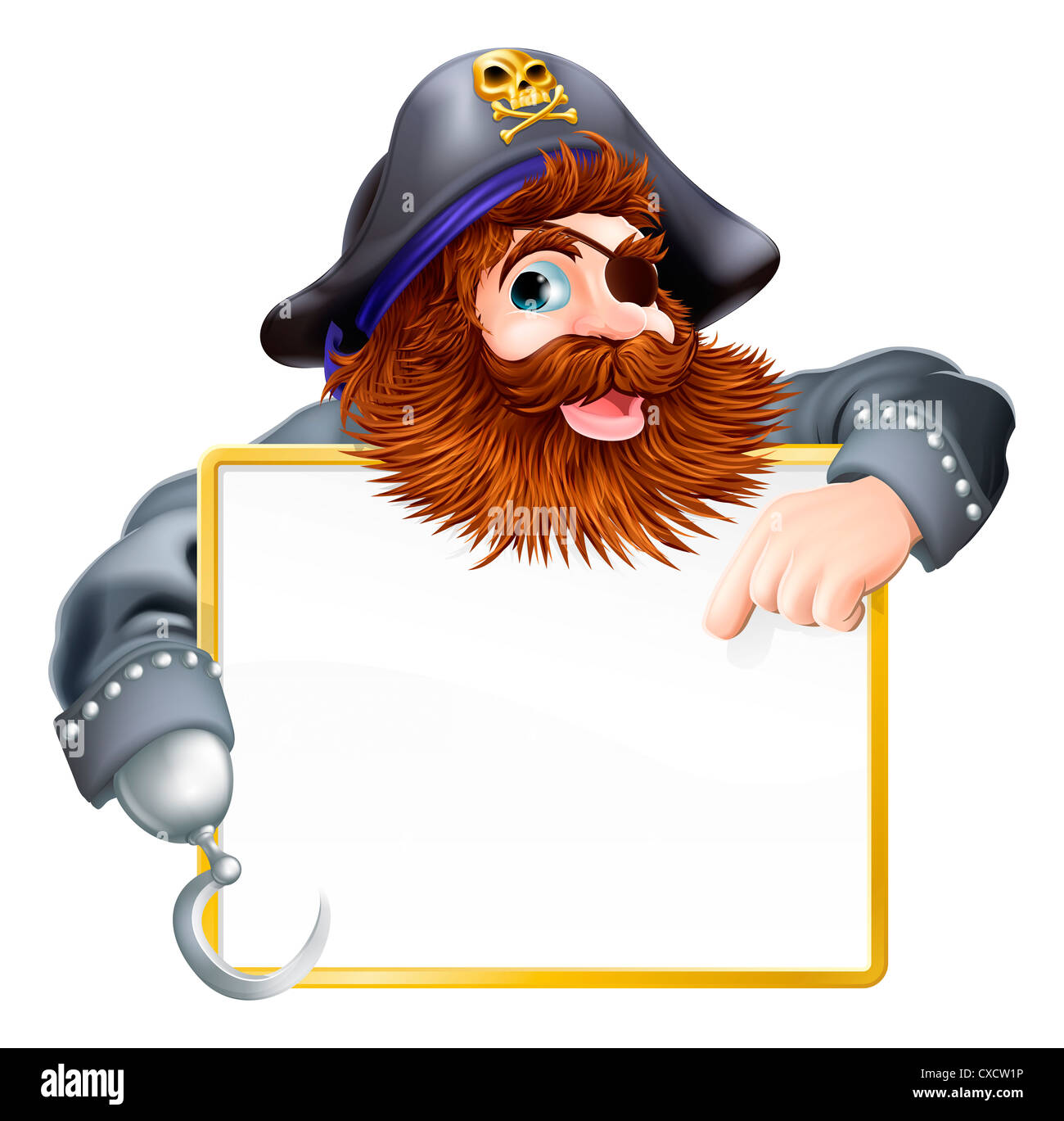 A happy pirate pointing at sign with a gold border or frame Stock ...