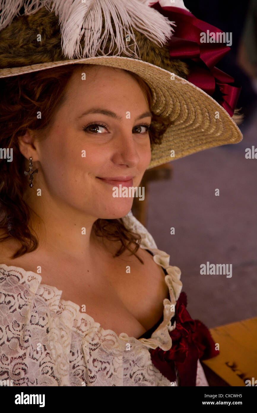 Woman in 17th century French Canadian costume, New France Festival, Quebec City, Canada - Stock Image
