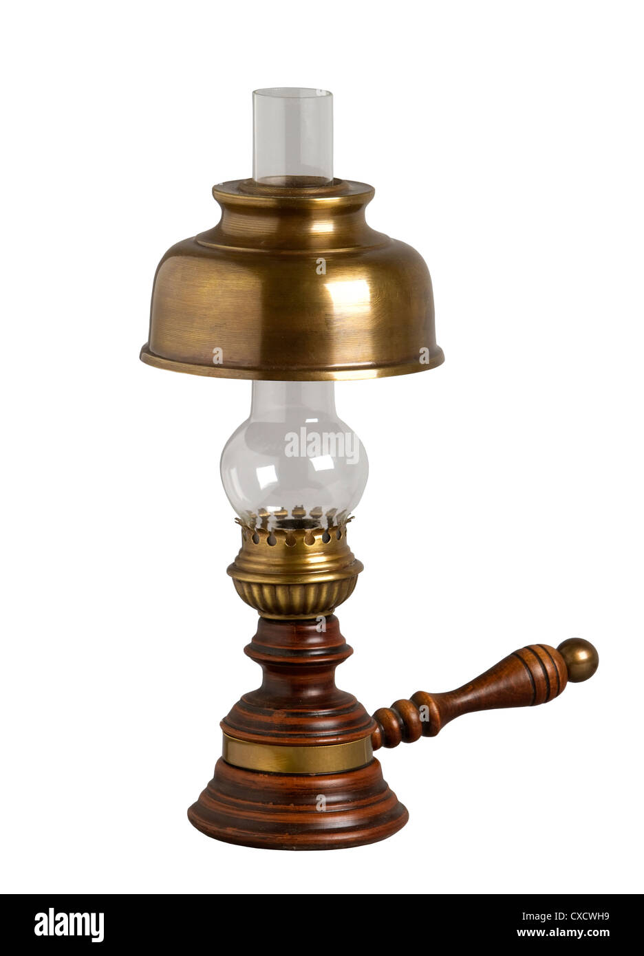 Antique oil lamp, isolated on white - Stock Image