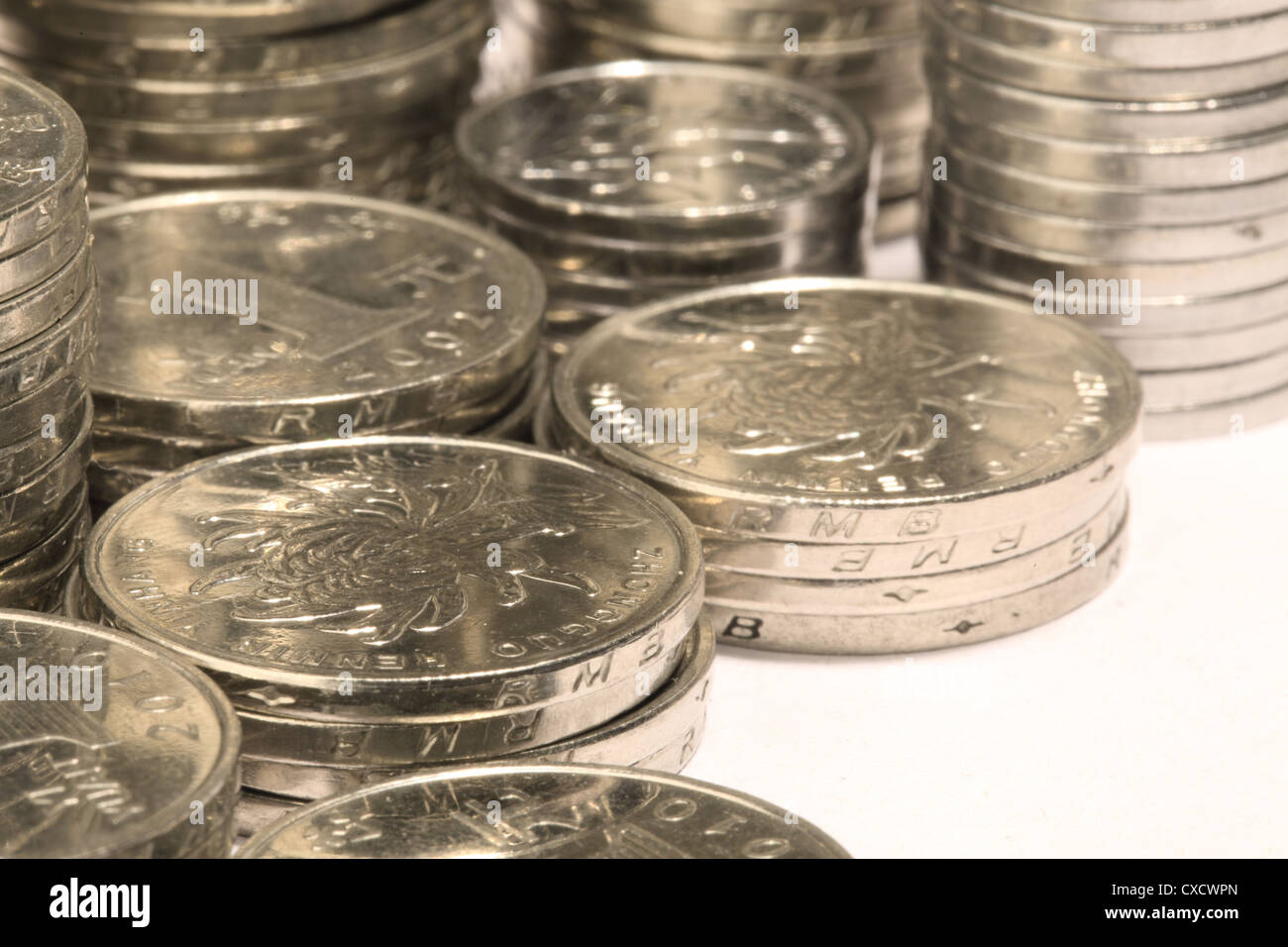 Chinese coin stacks - Stock Image