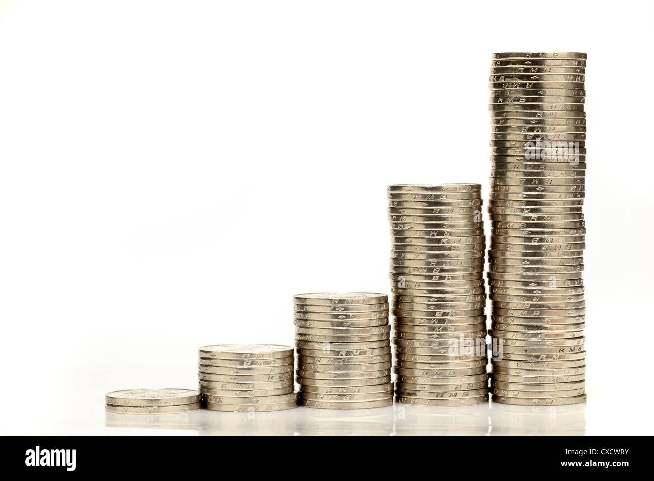 Chinese coin stacks showing growth - Stock Image