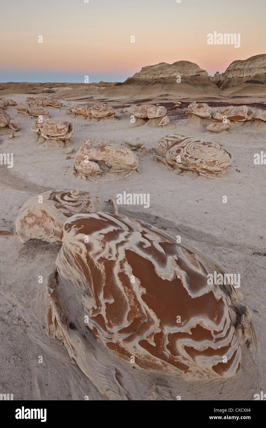 Rocks at the Egg Factory at dusk, Bisti Wilderness, New Mexico, United States of America, North America - Stock Image