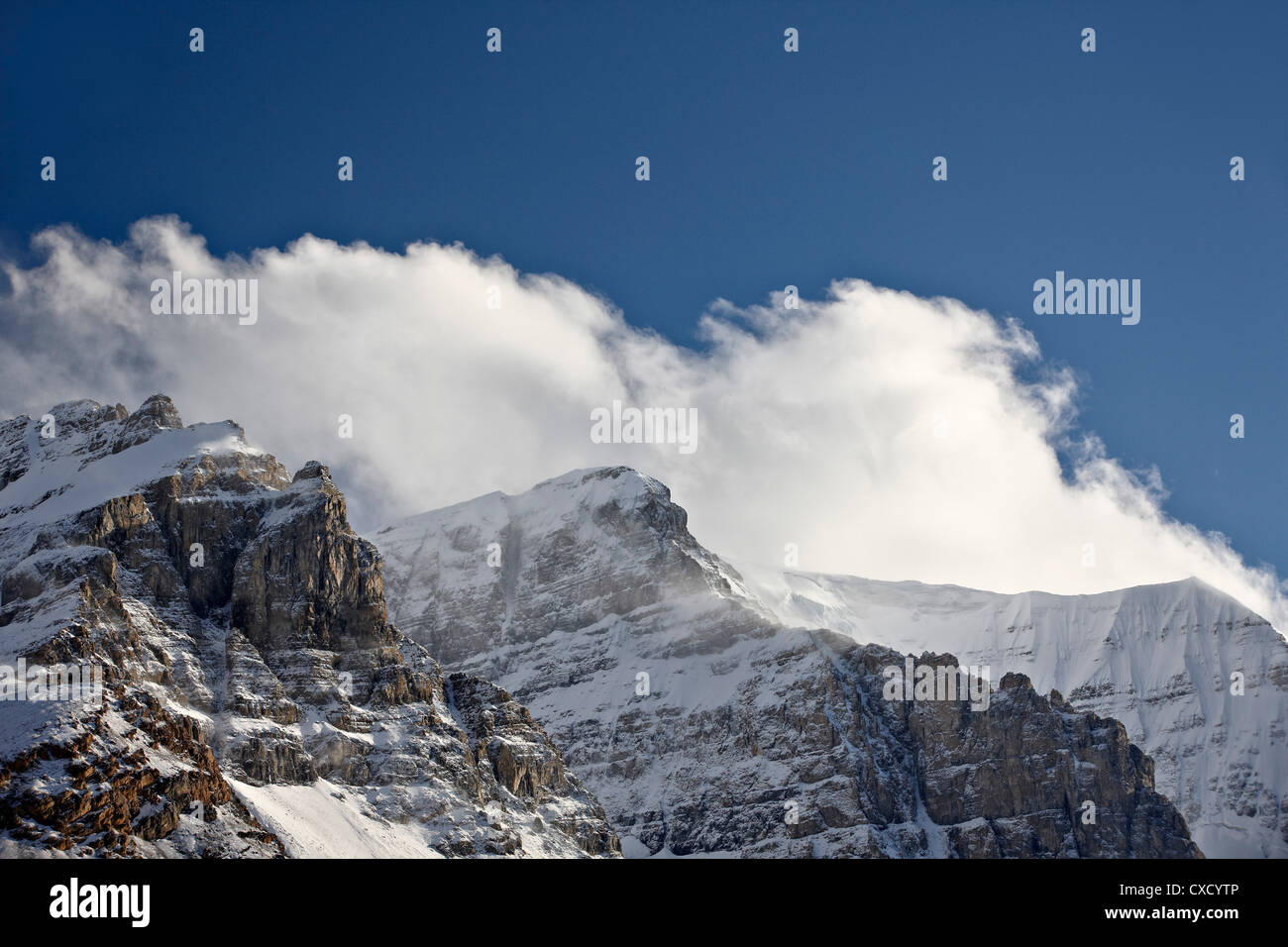 Craggy mountains with clouds and snow cover, Jasper National Park, UNESCO World Heritage Site, Alberta, Canada, - Stock Image