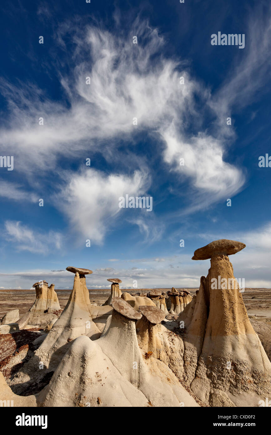 Yellow hoodoos under a wispy cloud, San Juan Basin, New Mexico, United States of America, North America Stock Photo