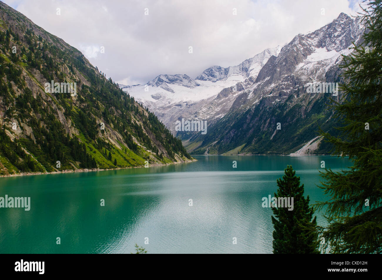 Austria, Zillertal High Alpine nature Park Hochgebirgs Naturpark Schlegeis dam and reservoir Stock Photo