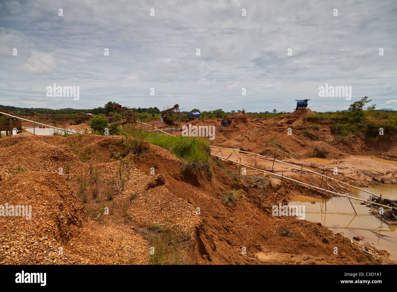 View over the Diamond Fields of Cempaka in South Kalimantan in Indonesia - Stock Image