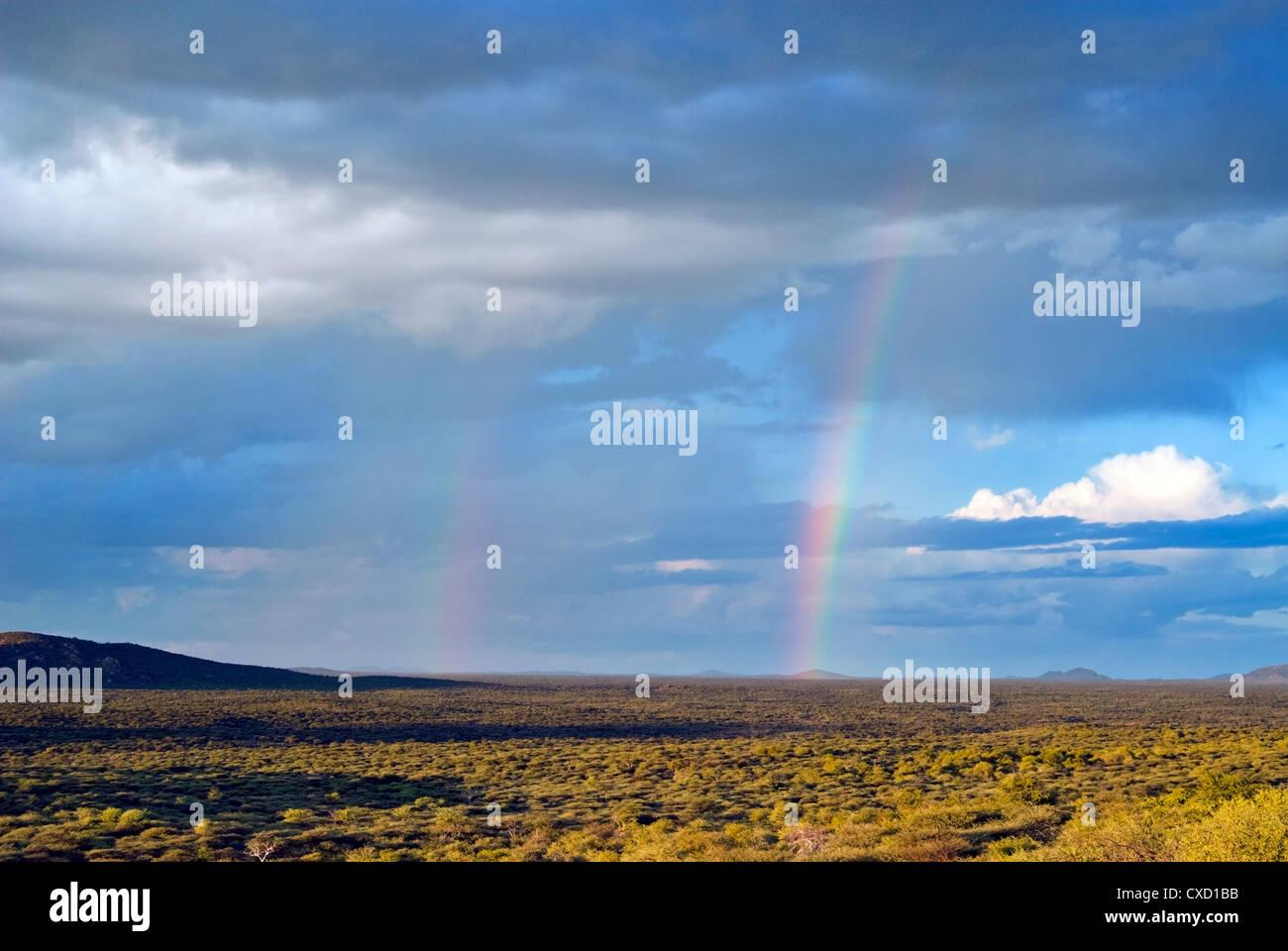 Rainbows, Ongava Game Reserve, Namibia, Africa - Stock Image