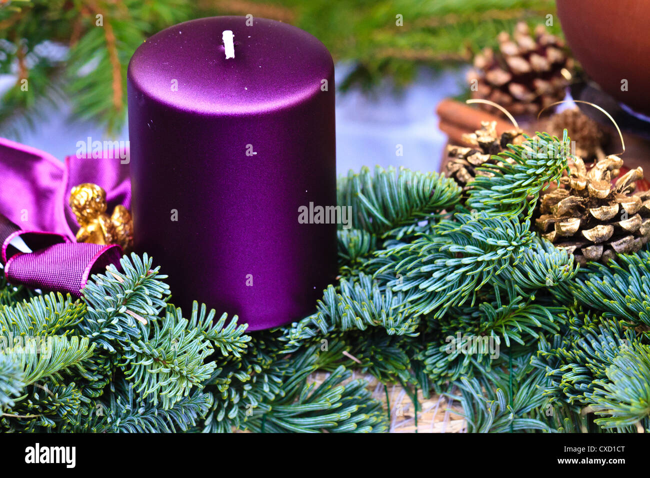 Candle of Christmas Advent Wreath (detail view) - Stock Image