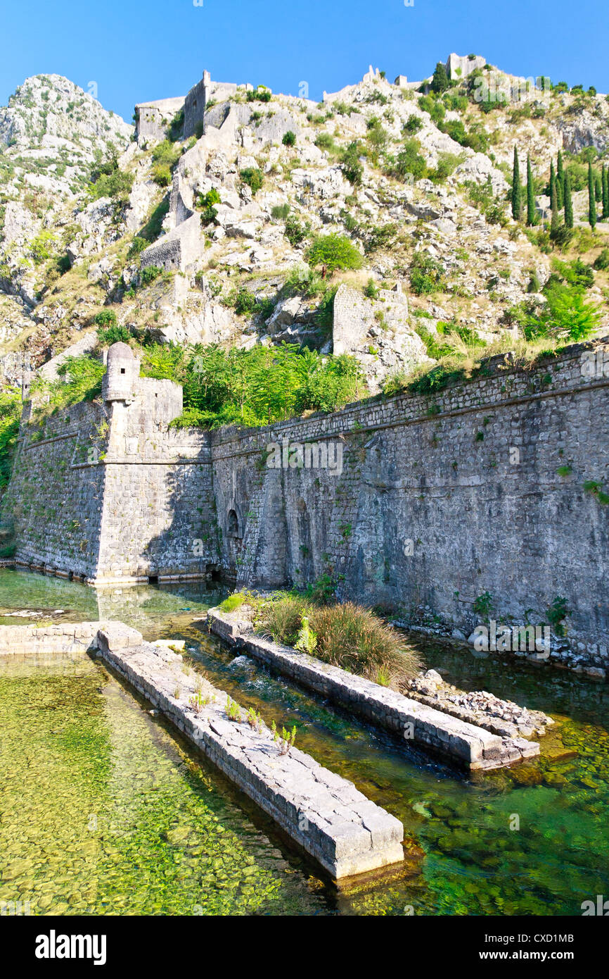 Kotor City Wall Fortifications, Montenegro (UNESCO world heritage site) - Stock Image