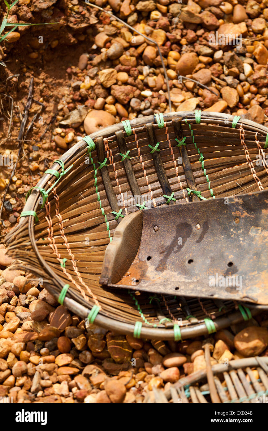 Typical Wash Pan on the Diamond Mines of Cempaka in South Kalimantan in Indonesia - Stock Image