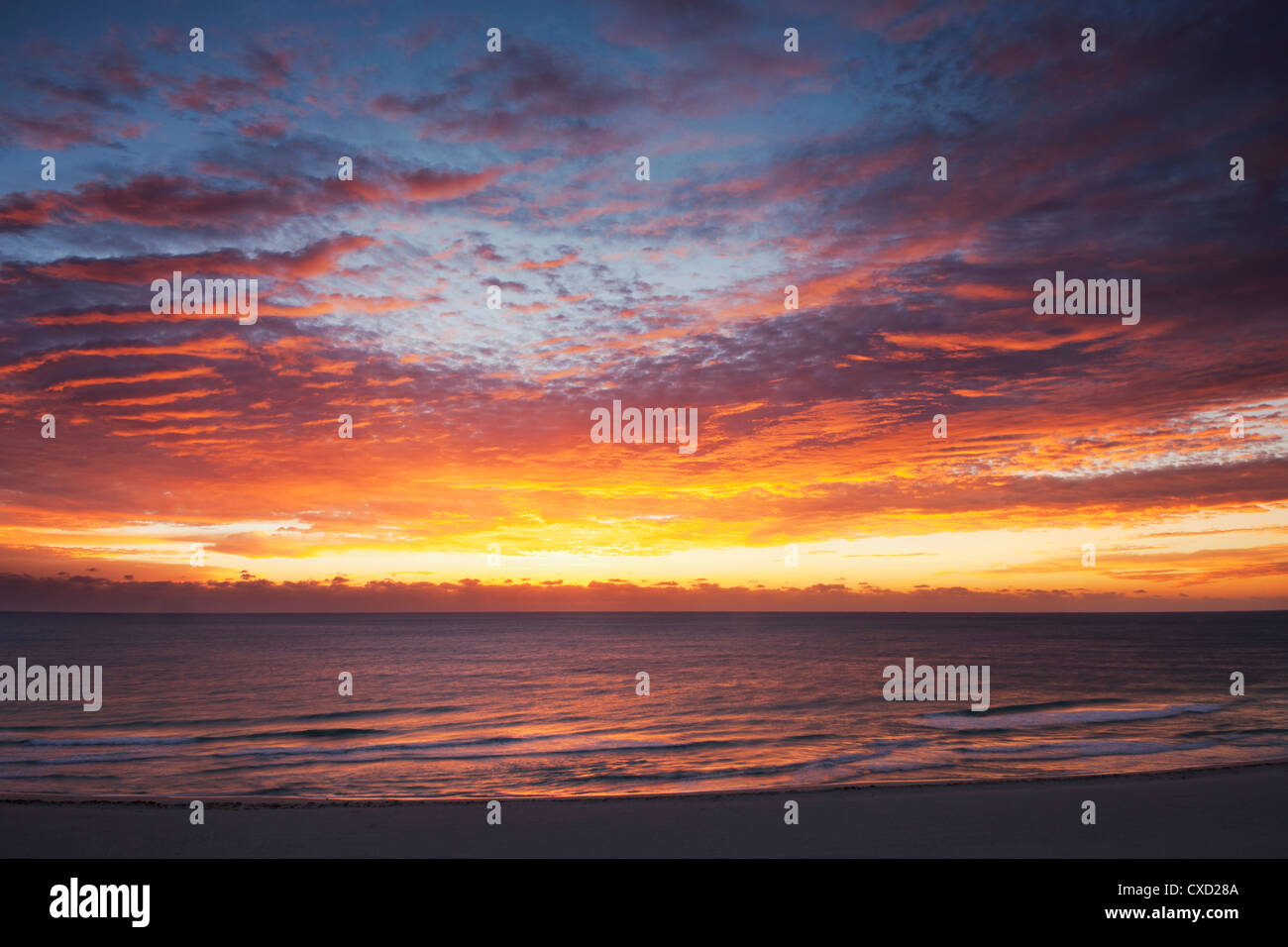 Sunrise over the Atlantic Ocean in Miami Beach. Florida, United States of America, North America - Stock Image