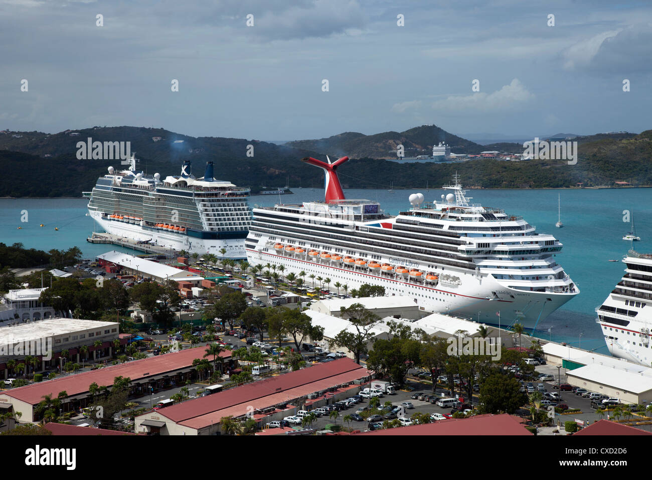 Cruise ships. Charlotte Amalie, St. Thomas, U.S. Virgin Islands, West Indies, Caribbean, Central America - Stock Image