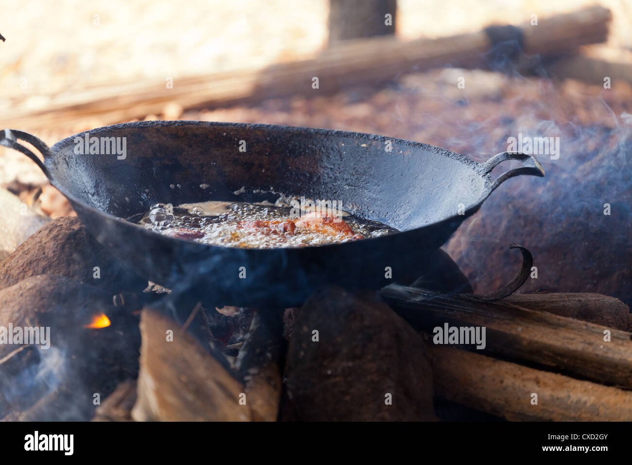 Wok on the Diamond Fields of Cempaka in South Kalimantan in Indonesia - Stock Image