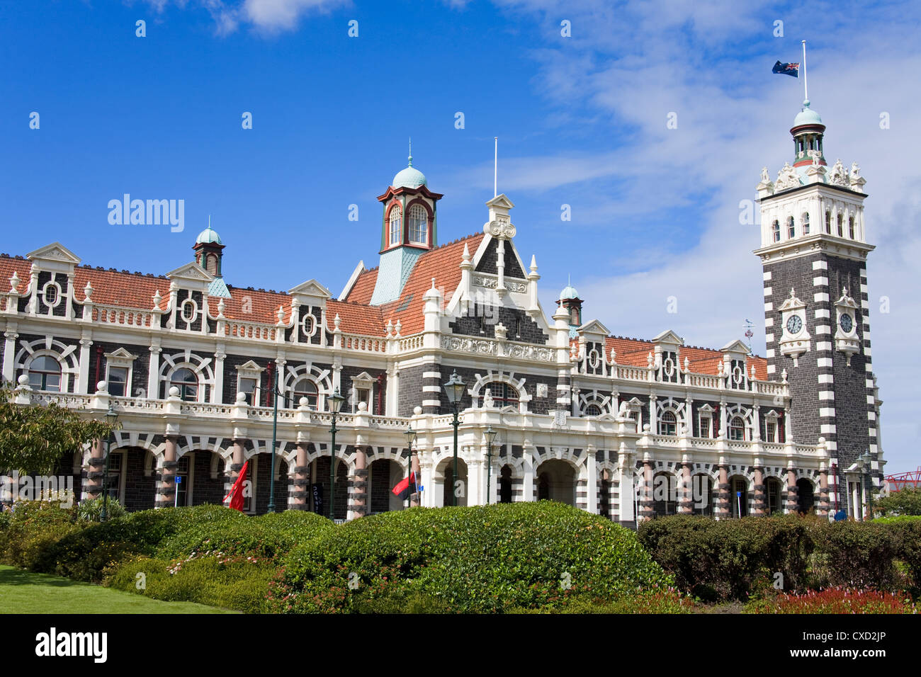 Railway Station, Central Business District, Dunedin, Otago District, South Island, New Zealand, Pacific - Stock Image