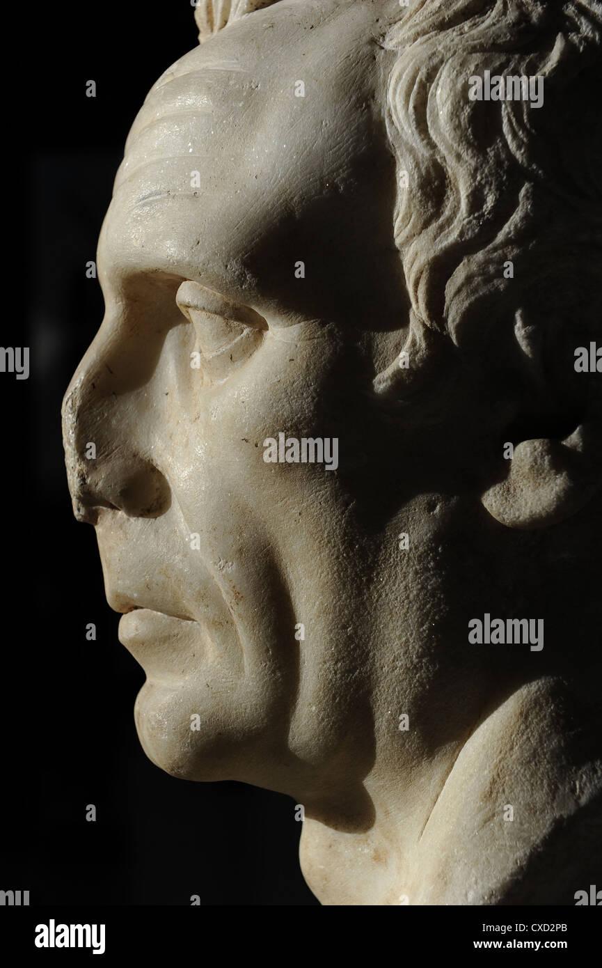 Bust identified as C. Julius Caesar (102/100-44 B.C) or as the dictador L. Cornelius Sulla (C. 138-78 B.C.) or an - Stock Image