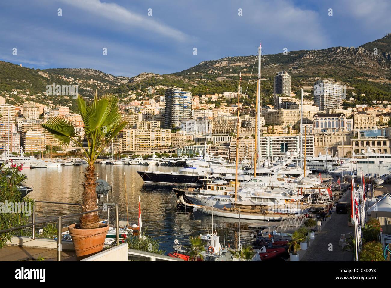 Yacht marina in Port de Monaco, Monte Carlo City, Monaco, Mediterranean, Europe - Stock Image