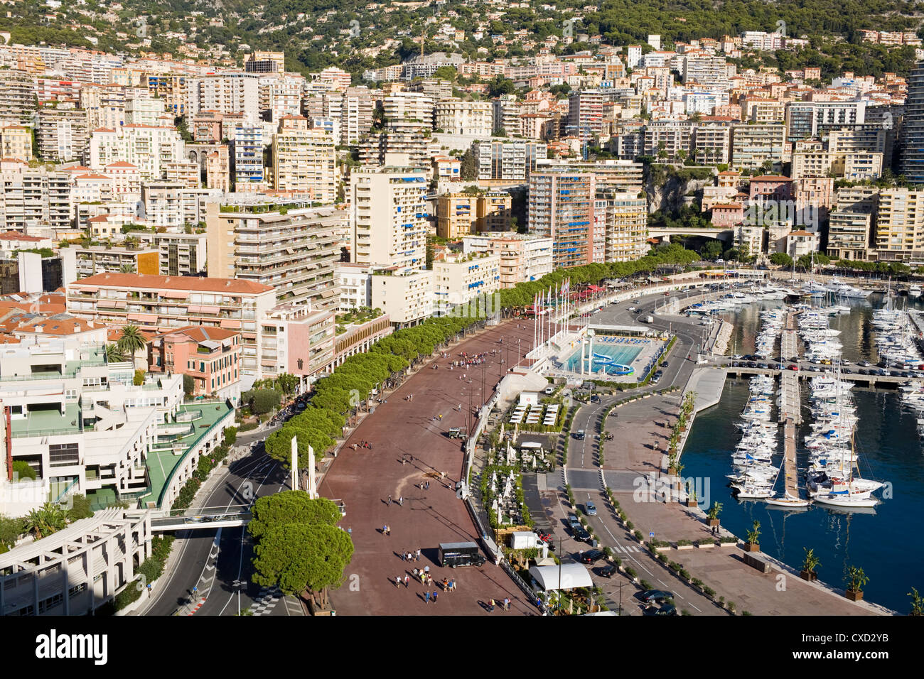 Monte Carlo viewed from Old Monaco, Monte Carlo, Monaco, Mediterranean, Europe - Stock Image