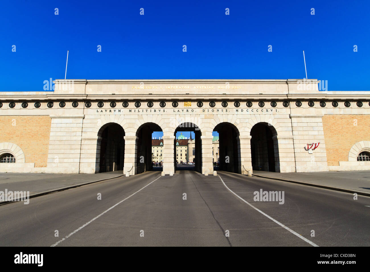 Vienna Heldentor - Entrance to Hofburg and Heldenplatz, Austria - Stock Image