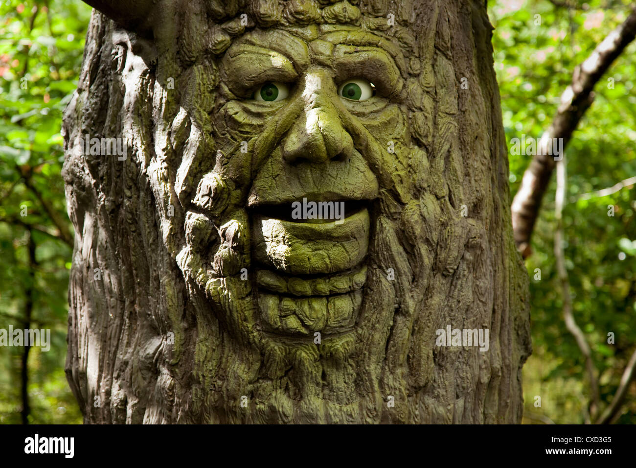 Talking Tree man at King Arthur's labyrinth The bards' quest tree - Stock Image