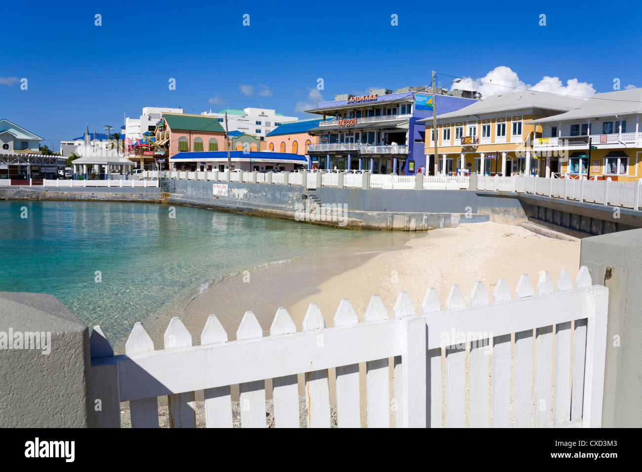 Stores on Harbour Drive, George Town, Grand Cayman, Cayman Islands, Greater Antilles, West Indies, Caribbean, Central Stock Photo