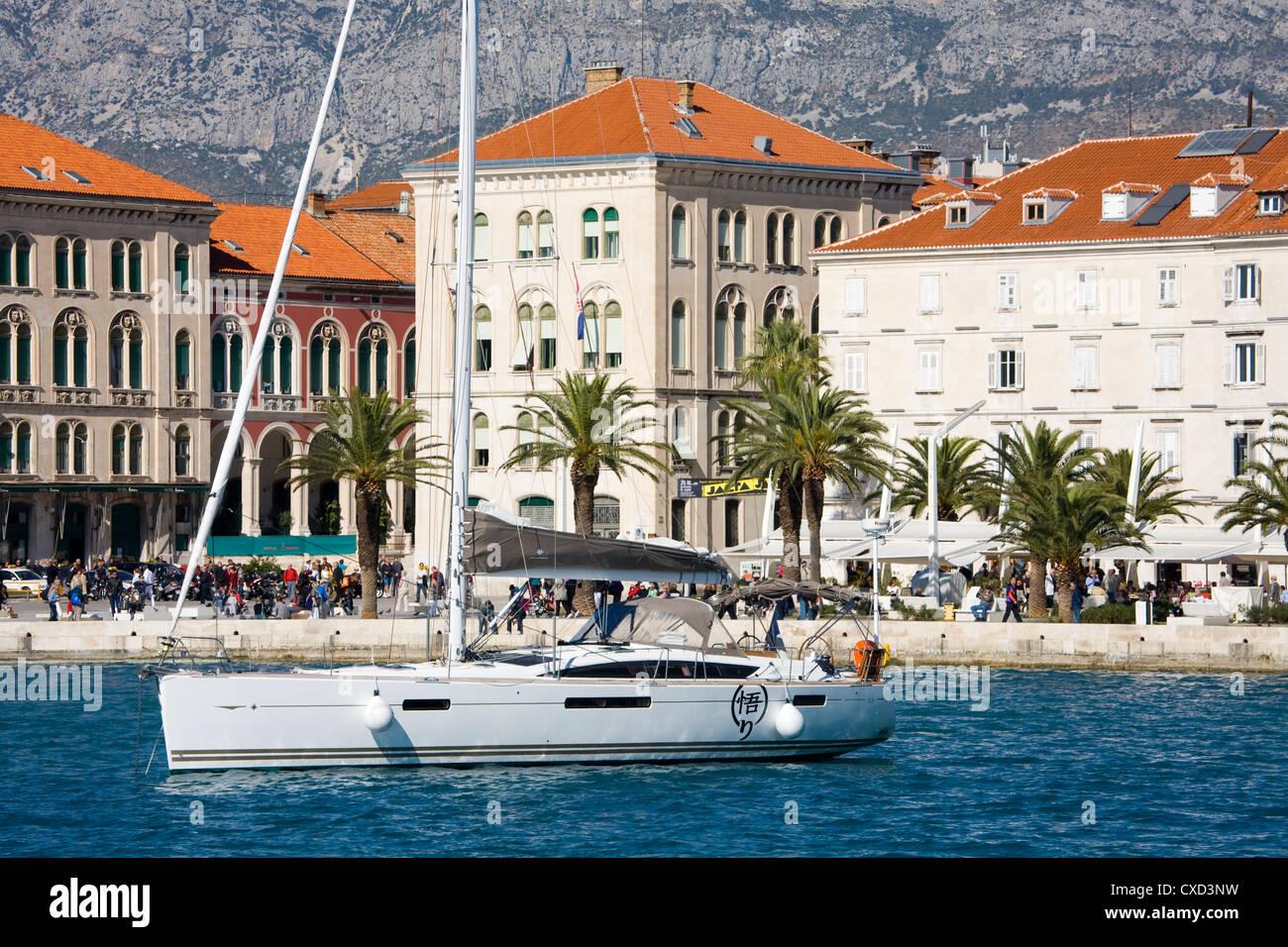 Yacht in Split harbour, Dalmatian Coast, Croatia, Europe Stock Photo